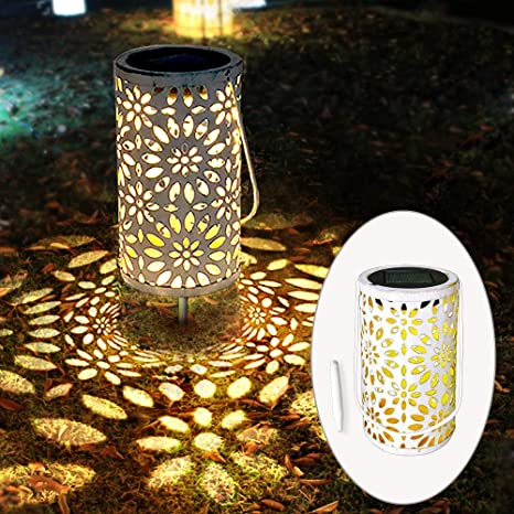 Petrala Solar Lantern Outdoor Hanging Vintage White Metal Decorative Lanterns Lights With Stake For Garden Patio Landscape
