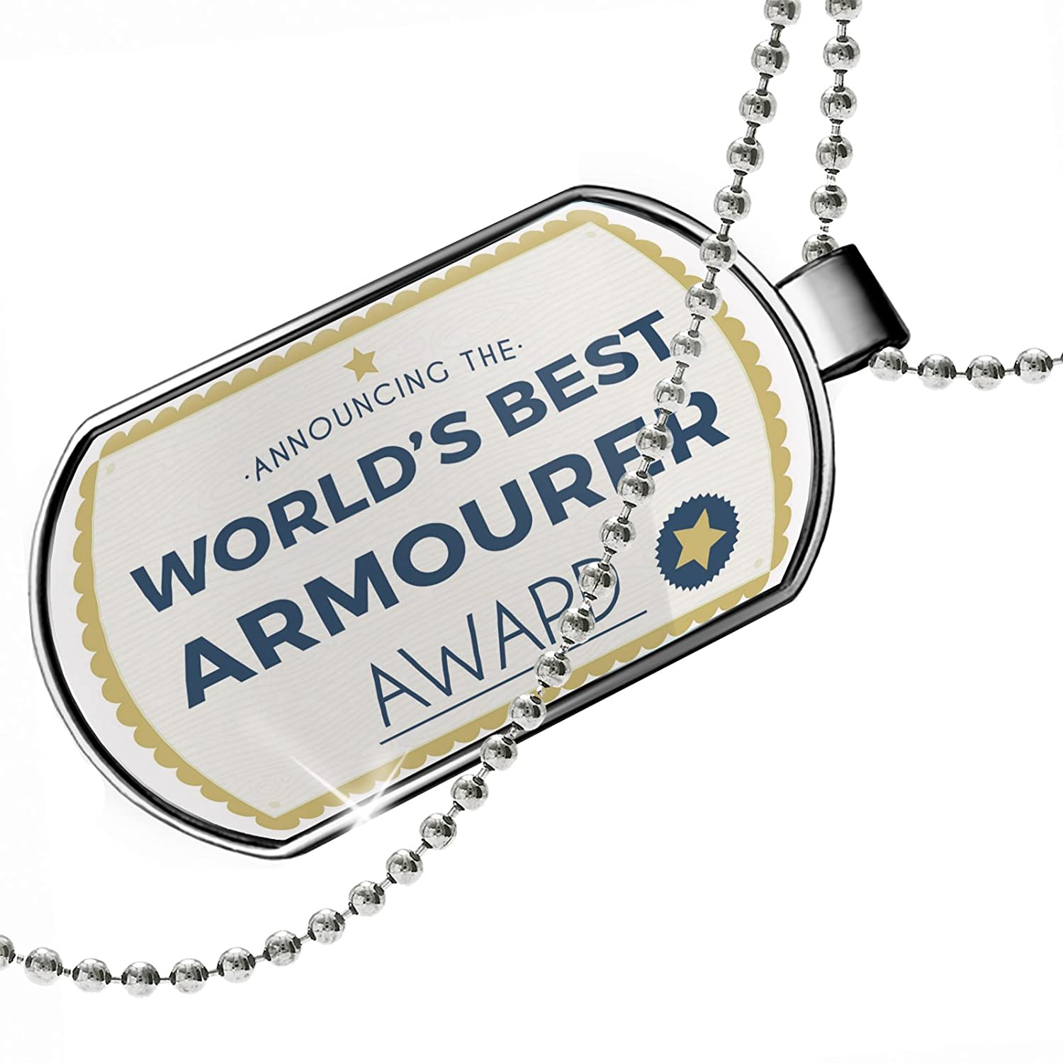 NEONBLOND Personalized Name Engraved Worlds Best Armourer Certificate Award Dogtag Necklace