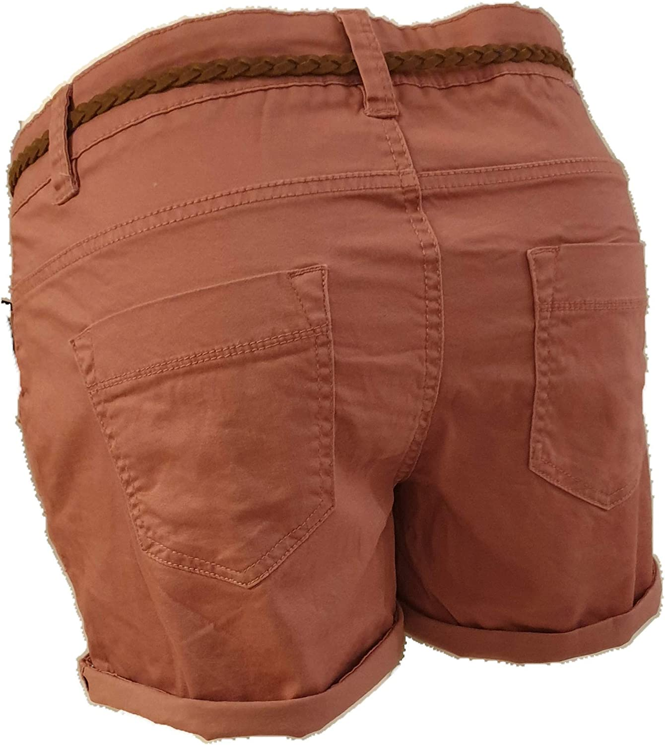 con Cintura Intrecciata Soft Washed Bermuda da Donna Capri Short a Vita Bassa Eight2Nine Hot Pant