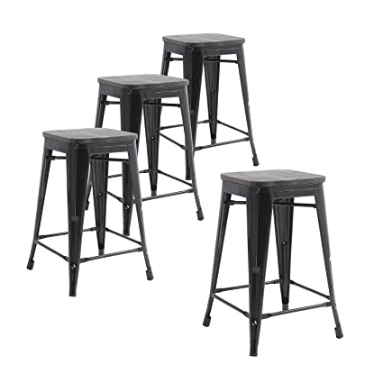 amazon com buschman set of four black wooden seat 24 inches counter