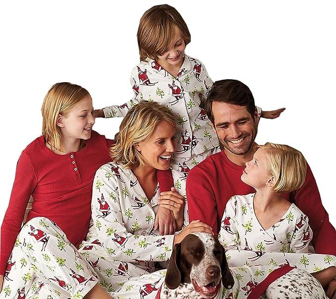 santa skiing matching family clothes sets family christmas pajamas m mom