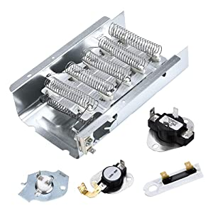 APPLIANCEMATE 279838 Dryer Heating Element & 3977767 Thermostat &3392519, 3977393 Thermal Fuse&3387134 Cycling Thermostat Replacement Part