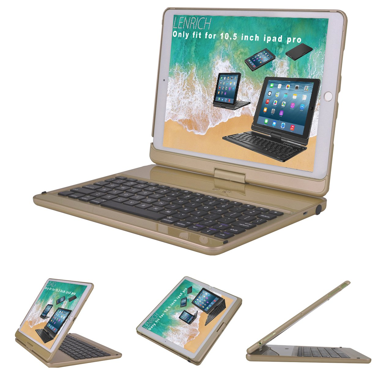 LENRICH 2017 iPad Pro 10.5 iPad Air 3rd 2019 case with Keyboard,360 rotatable Wireless 180 Flip Smart Folio Cover Hard Shell Swivel Stand Auto Sleep/Wake up ...