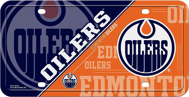 Rico Industries Inc Edmonton Oilers New Split Design Premium Metal Tag Aluminum Novelty License Plate Hockey