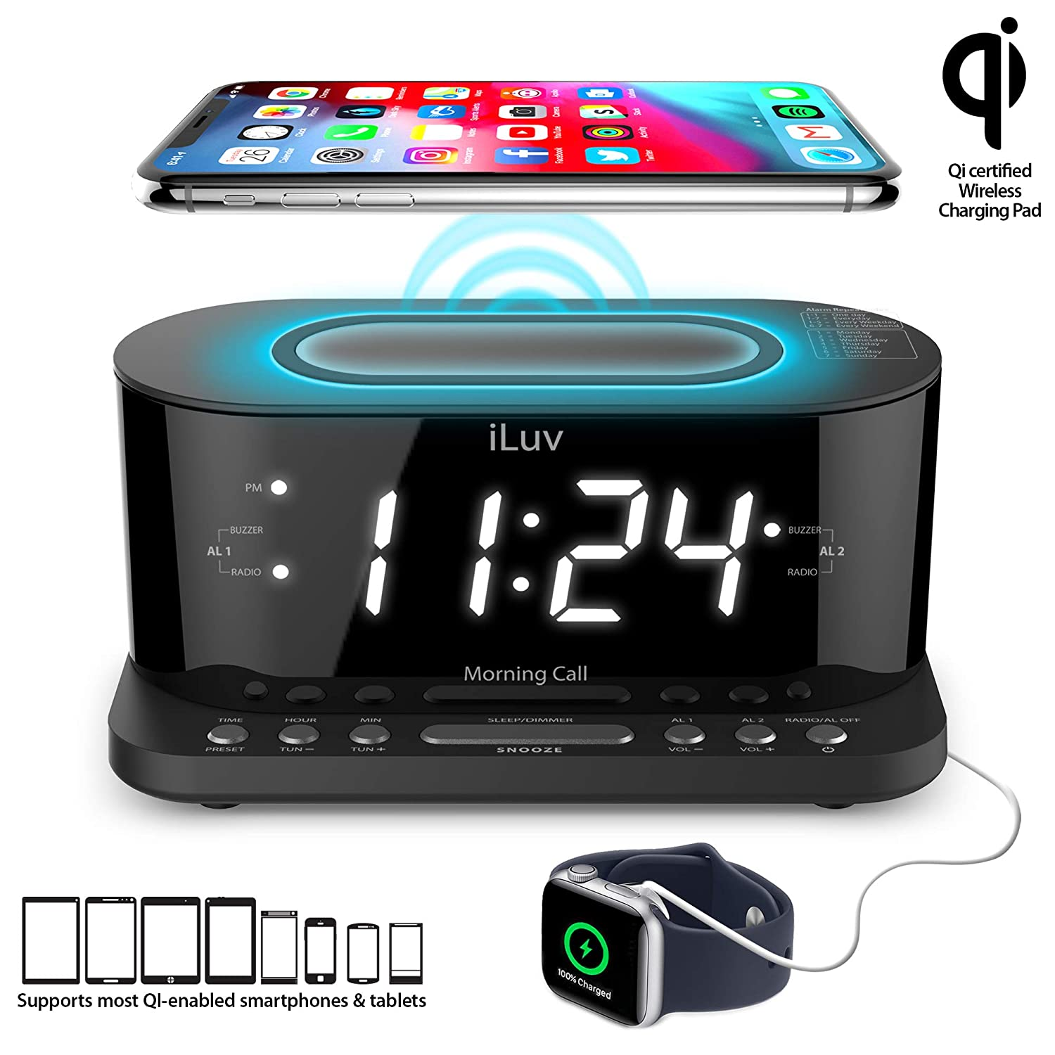 iLuv Wireless Charging Alarm Clock with Qi Certified, 1.2