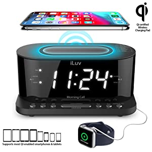 "iLuv Wireless Charging Alarm Clock with Qi Certified, 1.2"" Jumbo LED Dual Alarm Clock, Radio Alarm Clock, FM 10 Preset, USB Charging Alarm Clock, Sleep Timer, 3 Dimmer,100-240V AC Power"