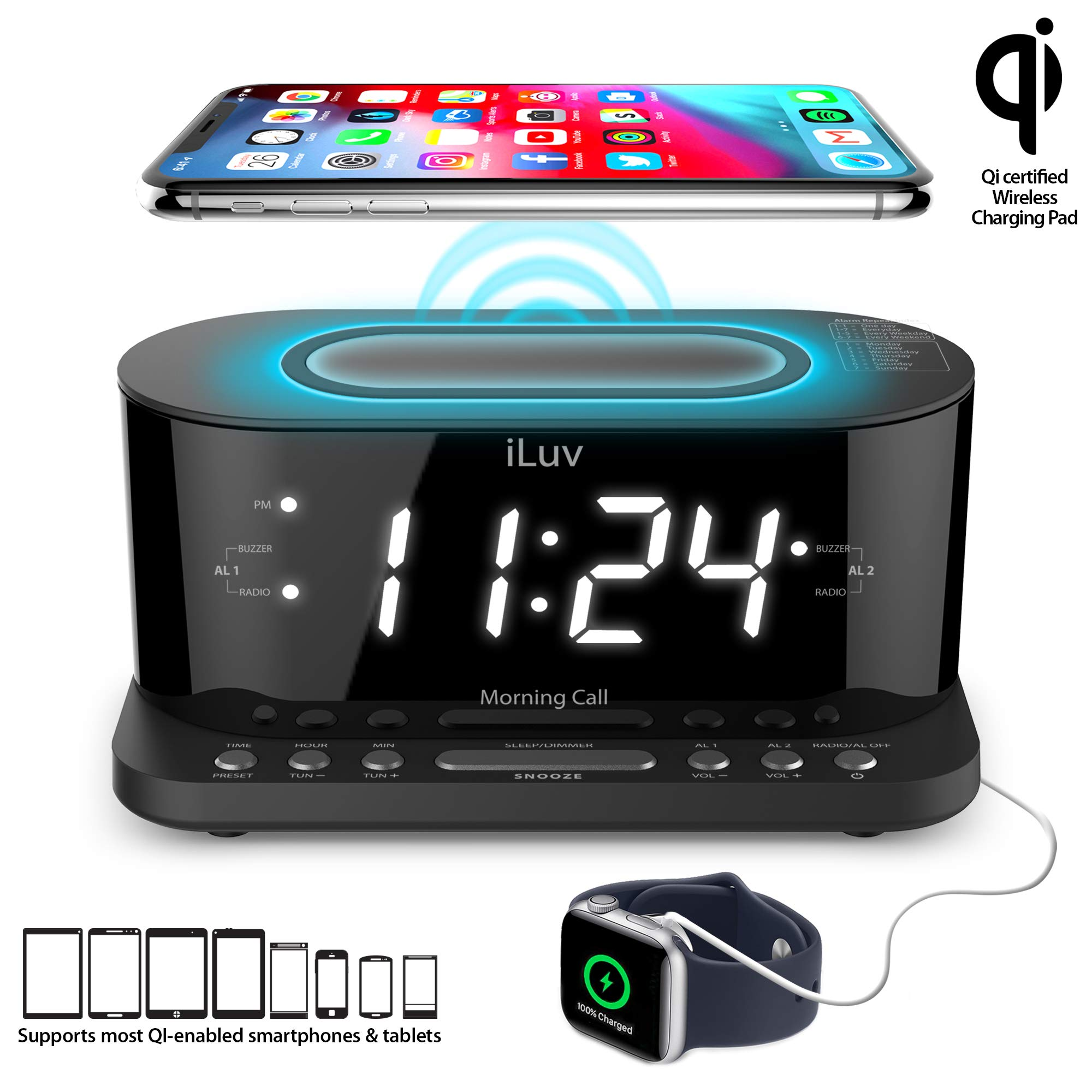 iLuv Wireless Charging Alarm Clock with Qi Certified, 1.2'' Jumbo LED Dual alarm Clock , Radio Alarm Clock, FM 10 Preset, USB Charging Alarm Clock, Sleep Timer, 3 Dimmer,100 -240V AC Power