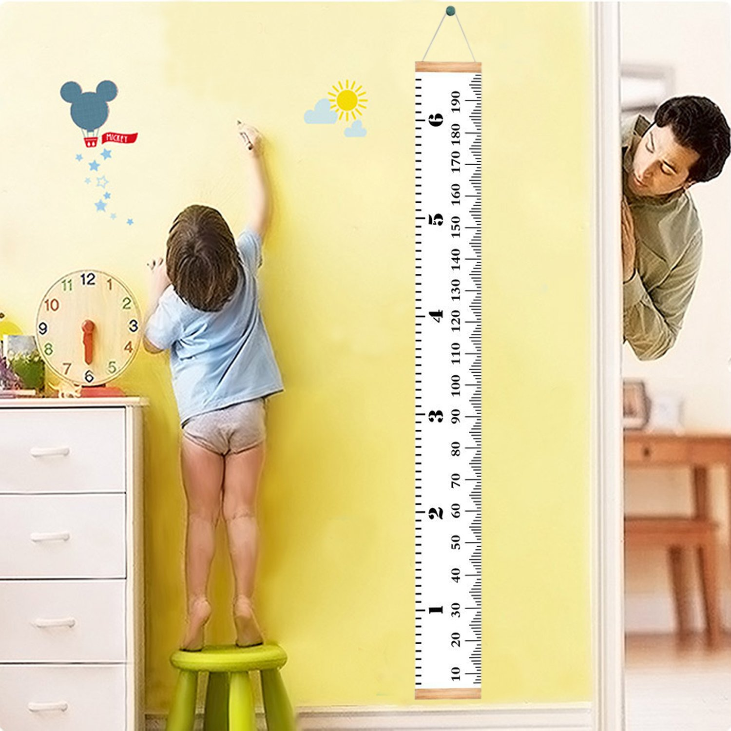 Homdipoo Kids Room Wall Decor Baby Height Growth Chart Ruler, Roll-up Canvas Height Chart Removable Wall Hanging Measurement Chart Wall Decor with Wood Frame for Kids Nursery Room 79 x 7.9 (White)