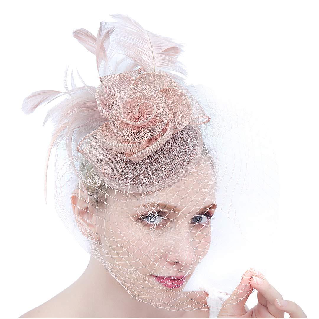 Felizhouse HAT レディース B07GCH835D #4 Sinamay Flower Feather - Pink
