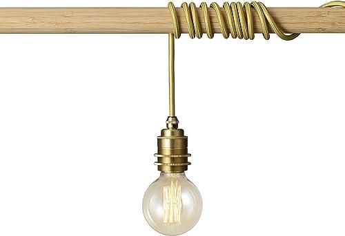 BRIGHTTIA Brass Plug-in Swag Pendant Light Fixture