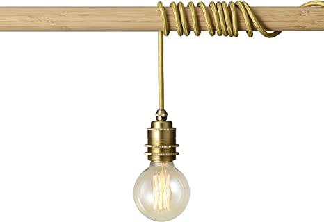 Brighttia Brass Plug In Swag Pendant Light Fixture Lamp Shade Ready Hanging E26 Threaded Brass Socket With 16 Feet Cord Set And In Line Switch Robust Industrial Vintage Diy Lighting Bp0001 1brp