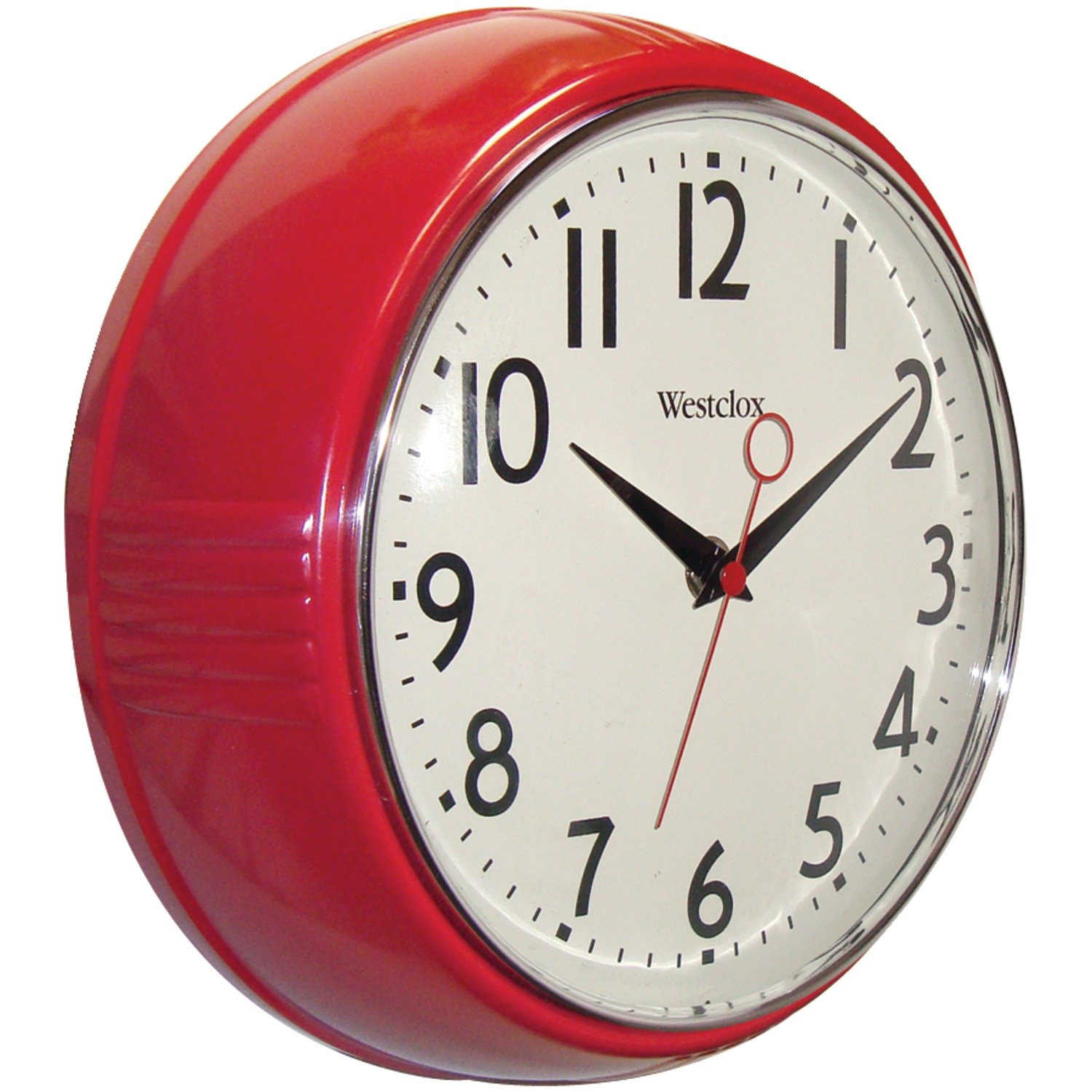 Shop amazon wall clocks westclox 32042r retro 1950 kitchen wall clock 95 inch red amipublicfo Image collections