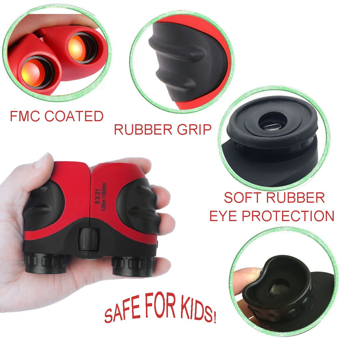 XIYITOY Compact 8x21 Shock Proof Binoculars Toys for 7 8 Year Old Boys, Long Range Kids Walkies Talkies for Outdoor Travel Hunting Boy Gifts Age 3-12 Girls &Gifts Age 3-12(Red) by XIYITOY (Image #4)