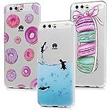 3x Cover Huawei P10, Custodia Silicone Morbido Trasparente TPU Flessibile Gomma design IMD - MAXFE.CO Case Ultra Sottile Cassa Protettiva per Huawei P10 - Penguin, Macarons, Donuts colorati