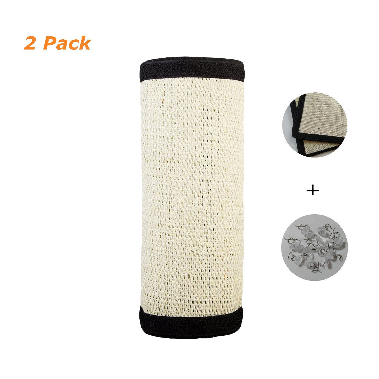 YOUYUN Upgraded 2 in 1 Flexible Sisal Cat Scratching Protector Pad Couch Guard with Spiral Pins and Velcro, Wrapping Around Furniture Legs and Covering Couch (2 Pack, 16''x12'')