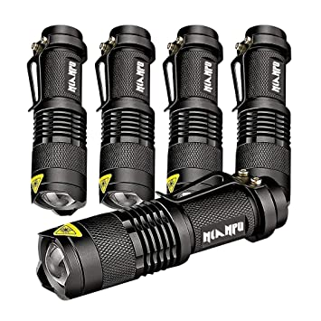 5 Pack SK 68 3 Modes Handheld Mini Cree Q5 LED Flashlight Torch Tactical  Lamp