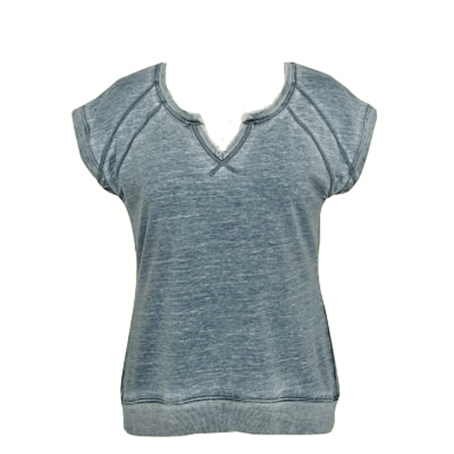 Green Tea Womens Mineral Wash Short Sleeve Pullove with Zipper Back