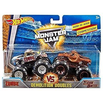 Hot Wheels Monster Jam Demolition Doubles Zombie VS Zombie Hunter: Toys & Games