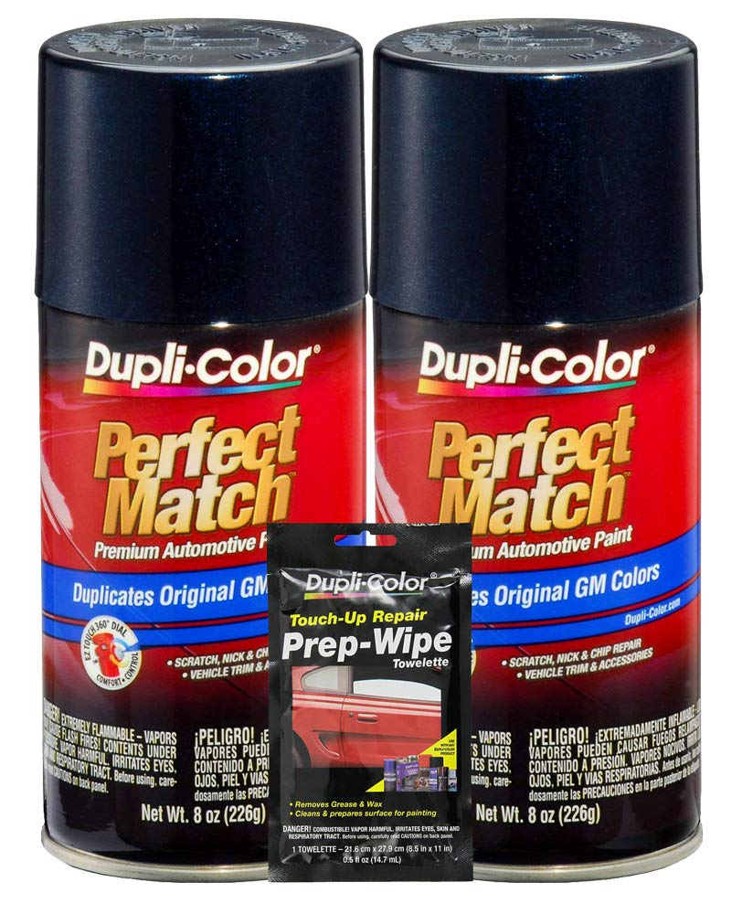 Dupli-Color Dark Ming Blue Metallic Exact-Match Automotive Paint for GM Vehicles - 8 oz, Bundles with Prep Wipe (3 Items)