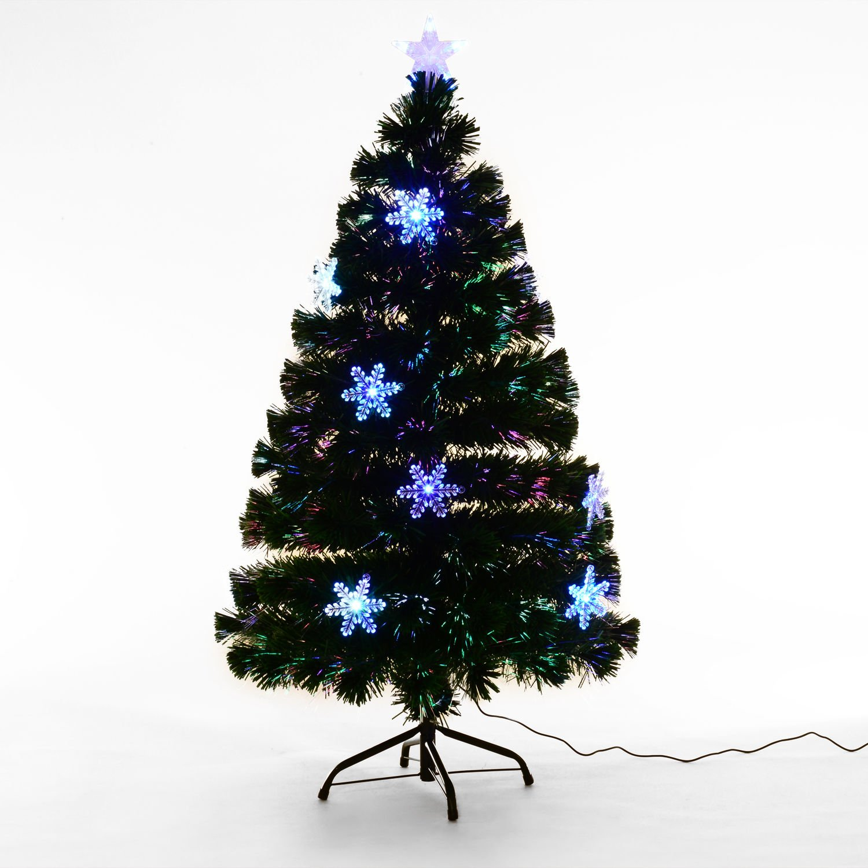 Homcom 3Ft 4Ft 5Ft Green Fibre Optic Artificial Christmas Tree