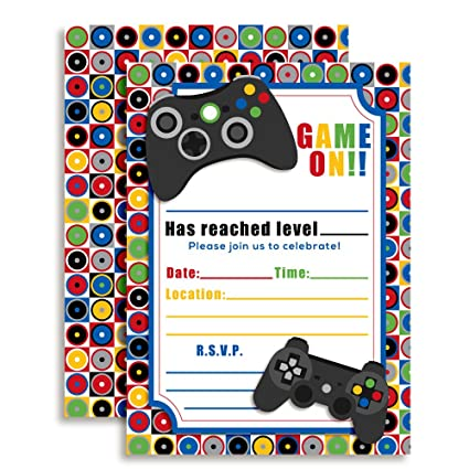 Amazon game on video gamer birthday party fill in invitations game on video gamer birthday party fill in invitations ten 5quotx7quot filmwisefo