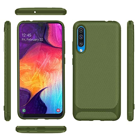 BESTCASESKIN Funda Samsung Galaxy A50 Carcasa [Textura Fibra de Carbono] Ligera Silicona Suave Slim Fit TPU Case [3D Cristal Templado] Protección ...