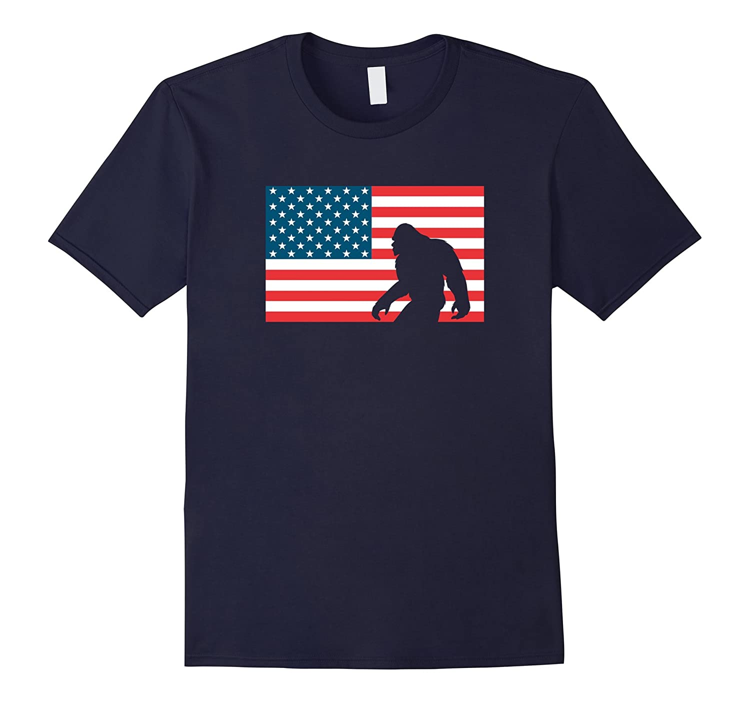4th of July American Flag Bigfoot Tee-PL