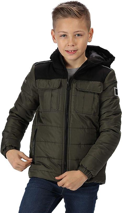 Regatta Kid's 'Pasco' Insulated Reflective Jacket Baffled/quilted, Dark Khaki, L (11-12),Regatta,RKN086 41CC11