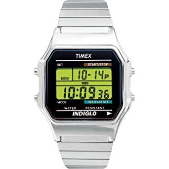5b8f4d07f Timex Men's T78582 Classic Digital Silver-Tone Extra-Long Stainless Steel  Expansion Band Watch