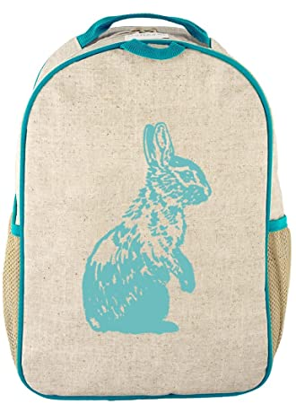 691149756f16 SoYoung Toddler Backpack - Raw Linen, Eco-Friendly, Non-Toxic,  Retro-Inspired Design - Aqua Bunny