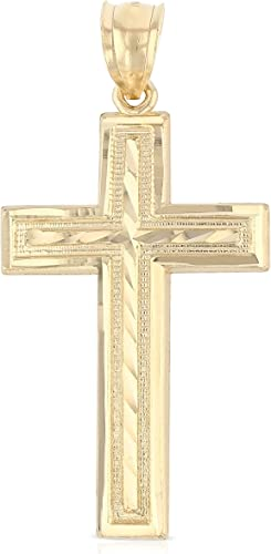 14K Yellow Gold Cross Religious Charm Pendant For Necklace or Chain
