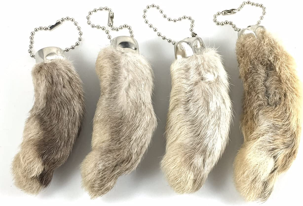 2 COLORED RABBIT FOOT KEYCHAINS lucky charm bunny FEET real new bunnies