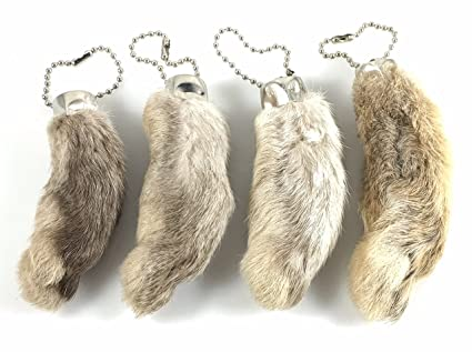 Amazon.com  Dangerous Threads Rabbit Rabbits Foot Keychain White ... 0291f346d5