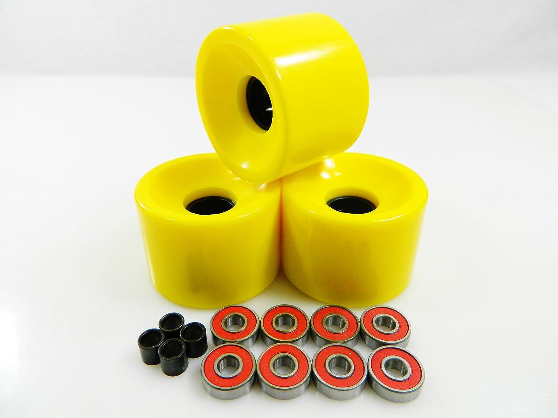 60mm Skateboard Wheels + ABEC 7 Bearings Spacers (Yellow) by Unknown   B00IK6K1DW