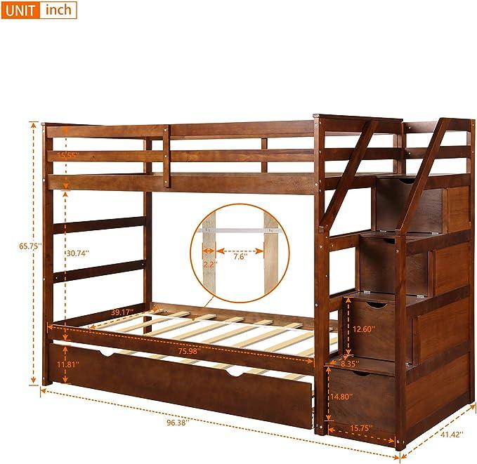 Litera de Madera para niños con 4 cajones de Almacenamiento, Escalera y Barra de Seguridad: Amazon.es: Hogar