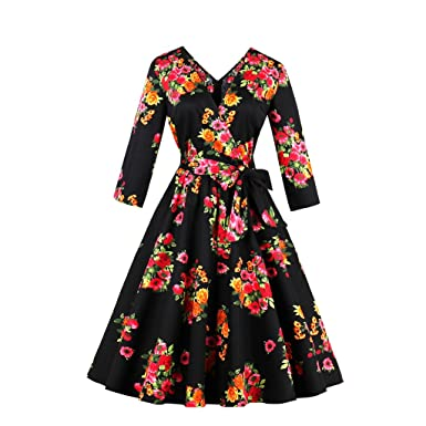 KeKeD23921 Women Floral Vintage Dress Print Party Dress Style 1950s Rockabilly Dress Vestido Luxury Pleated Vintage