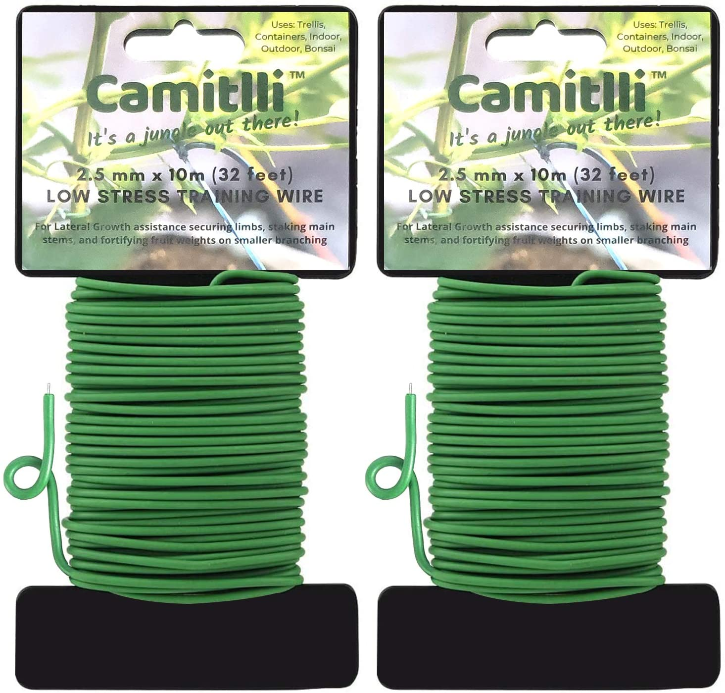 Camitlli Reusable Garden Plant Twist Tie, Plant Ties Heavy Duty Soft Wire Tie for Gardening, Home, Office (Green, 2PCS X 32.8feet Total, 65.8feet)