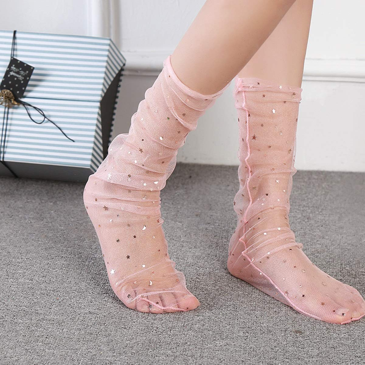 1 paio Moda Donna Ragazze trasparenti Sheer Knee Hight Socks Glitter Star Mesh Tulle Thin Visible Socks