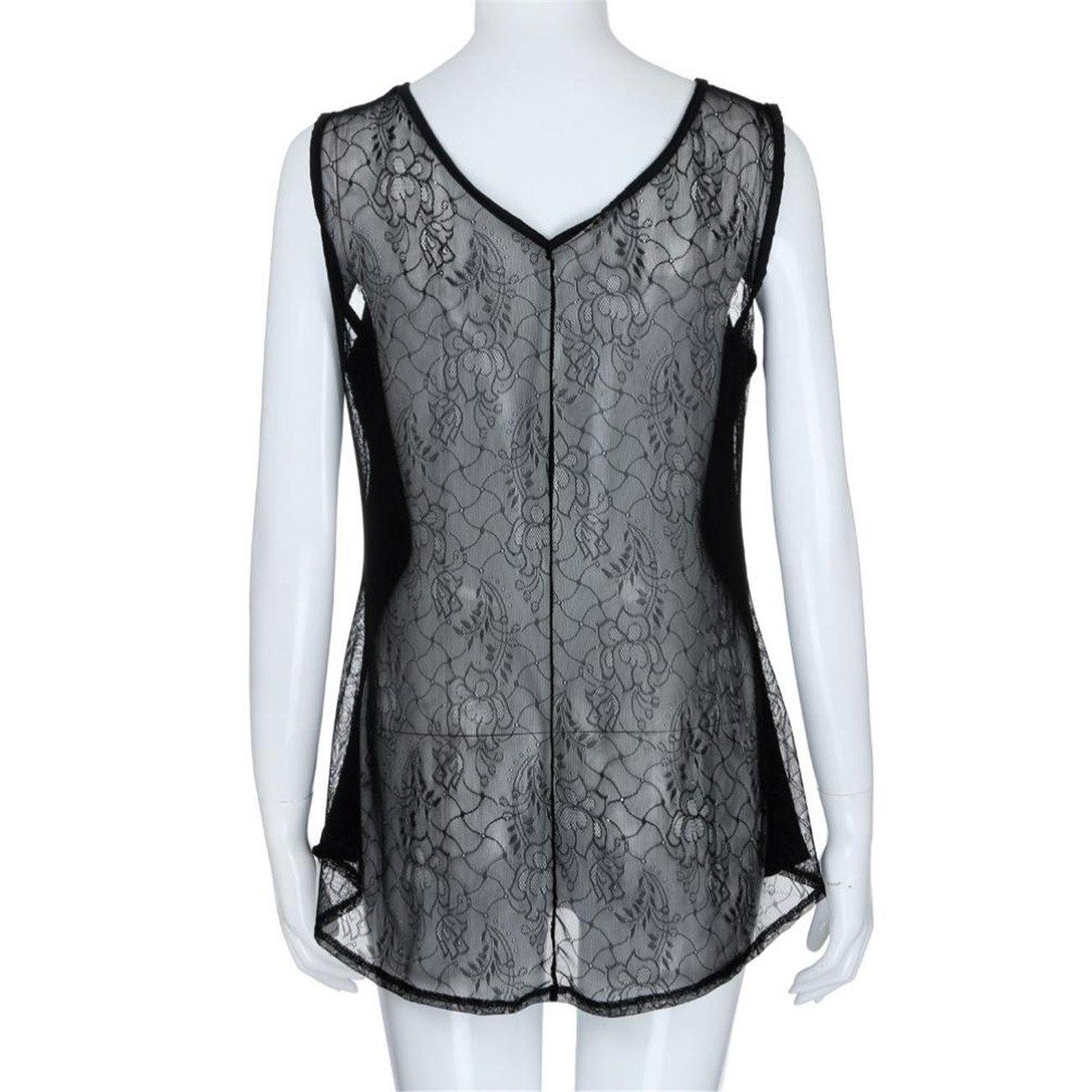 La Mode des Femmes Plus Taille Lace Comit/é Simple D/éCollet/é Vider Perspective D/éBardeur /Ét/é//Automne HCFKJ Femmes T-Shirts Tops Tank D/ébardeurs Haut Blouse Chemise