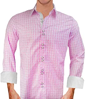 product image for Pink Plaid with White Designer Dress Shirt - Made in USA