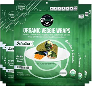 product image for WrawP Spirulina Mini Veggie Wraps 8 Pack Raw Organic Plant-Based Flatbread Bulk | Wheat-Free Gluten Free Paleo Wraps Non-GMO Vegan Friendly Made in the USA Full Value Case