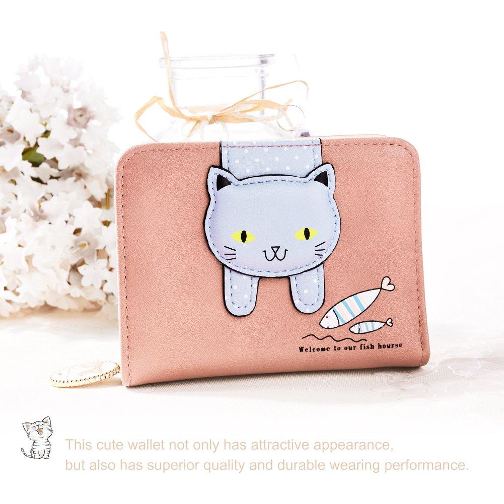 Vbiger Geldbörse Mädchen Kleine Geldbeutel Portemonnaie Damen Niedliche Katzen Muster Geldbörse für Kinder Pink