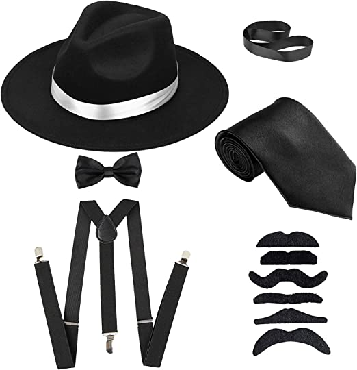 Men/'s Roaring 1920s Set Manhattan Fedora Hat,Y-Back Suspenders /& Pre Tied Bow Ti