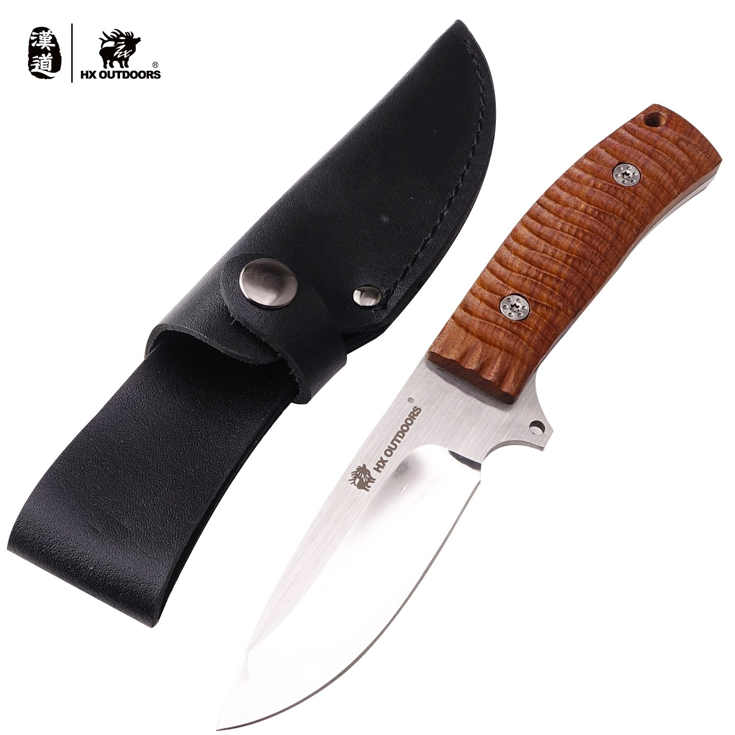 HX outdoors fixed blade tactical knives with sheath,Tanto Blade survival knife,Made of 440 stainless steel and Ergonomics anti-skidding Handle (Lizard)