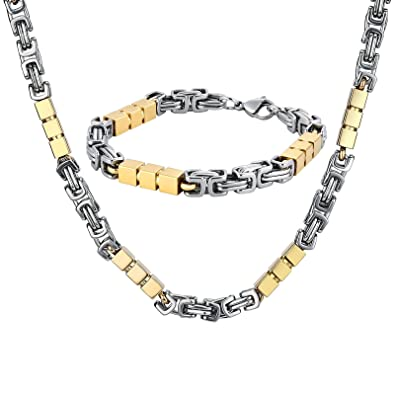 a185c176e73 Knsam Bijoux Parure Collier et Bracelet Homme Acier Inoxydable Maille  Royale et Petits Cubes Raffiné Argent