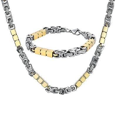 Collier Homme Bijoux Acier Maille Parure Et Inoxydable Bracelet Y76ybfg