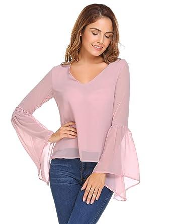 9a1d65a0318 UNibelle Women Ruffle Bell Sleeve V Neck Chiffon Shirt Blouse Casual Ladies  Tops