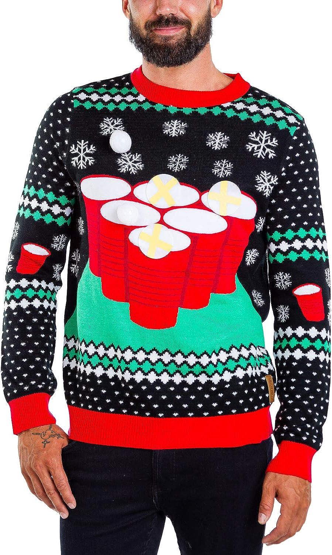 Tipsy Elves Men's Drinking Game Ugly Christmas Sweater - Funny Christmas Sweater at  Men's Clothing store