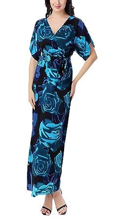 ... Moda Vintage Impresión Floral Vestidos Largos Basic Ropa Elegantes Manga Corta V Cuello Talle Alto Casual Boho Chic Vestido Playa Tallas Grandes Ropa: ...