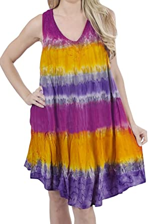 0d9fff73f3 LA LEELA 3 IN 1 Round Neck Short Beach RAYON TUNIC LADIES Tie Dye COCKTAIL  PROM
